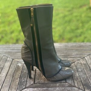 BCBGMAXAZRIA S 7B Eur 37 Taupe/Gold Leather Boots
